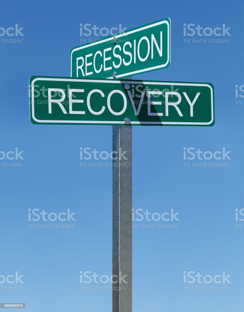 Recession Recovery Sign stock photo