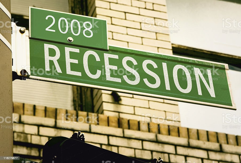 Recession Road Sign 2008 stock photo