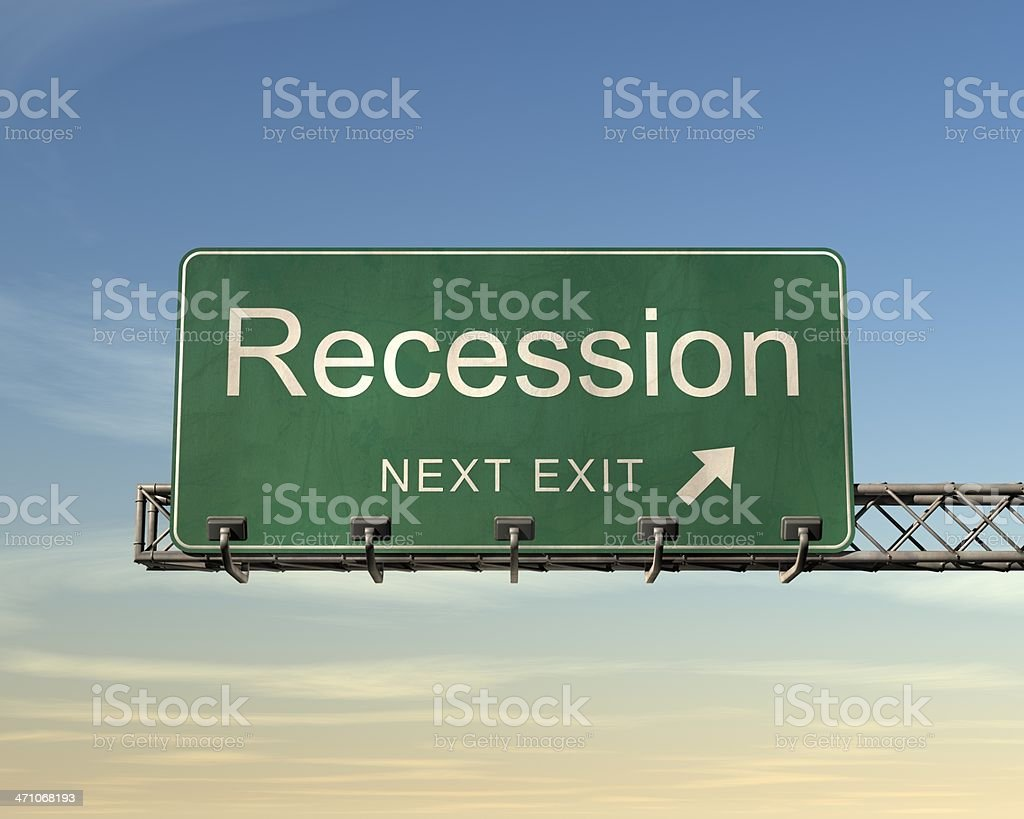 Recession Road Sign stock photo