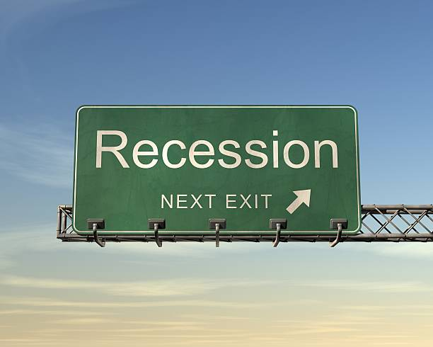 """Recession Road Sign Road sign with the words """"Recession next exit"""" featured. recession stock pictures, royalty-free photos & images"""