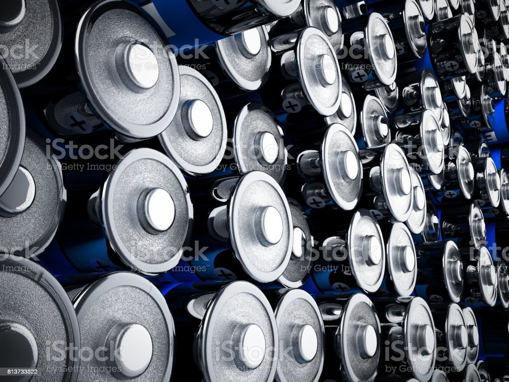rechargeable batteries background 3d render on white stock photo