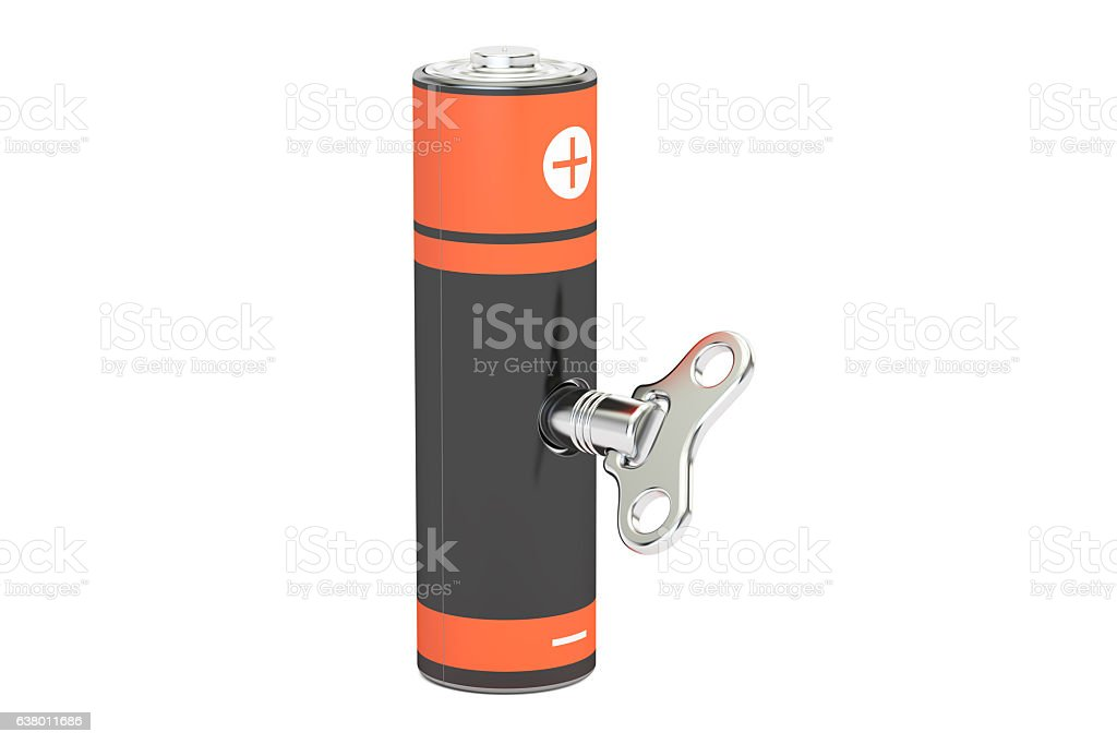 rechargeable battery, accumulator AA with wind-up key. 3D render – Foto