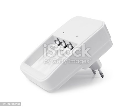 istock Rechargeable battery charger on white background 1218916234