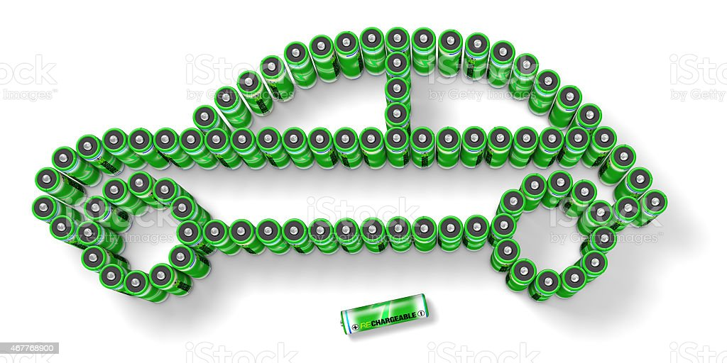 Rechargeable Green Batteries Shaping A Car stock photo