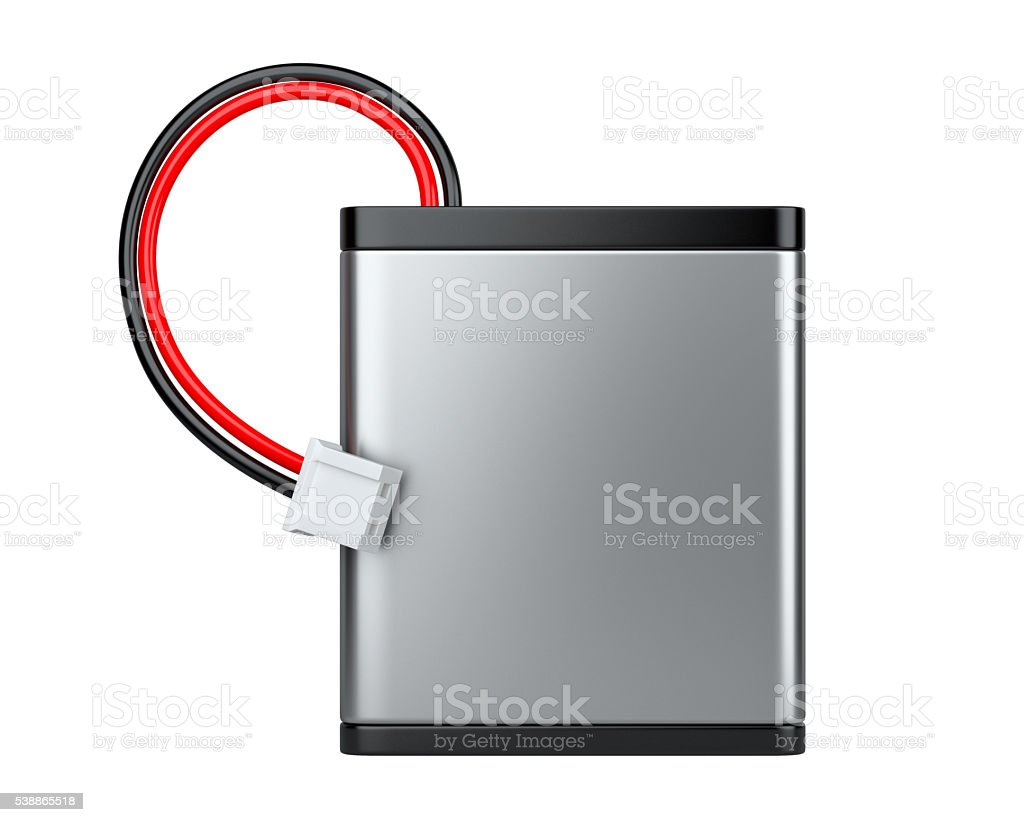 Rechargeable Li-ion battery with power plugs stock photo