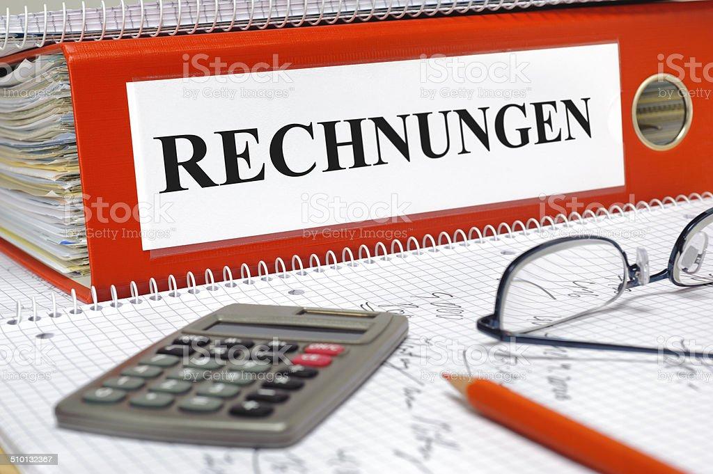 Rechnungen file folder for financial documents marked with invoices- in germen: Rechnungen Balance Stock Photo