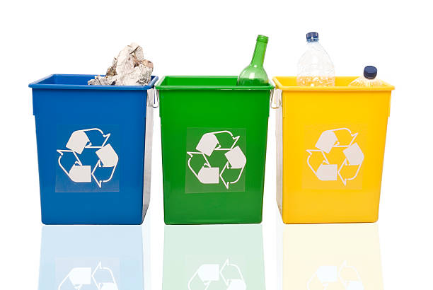 reciclyng garbage. - recycling bin stock photos and pictures