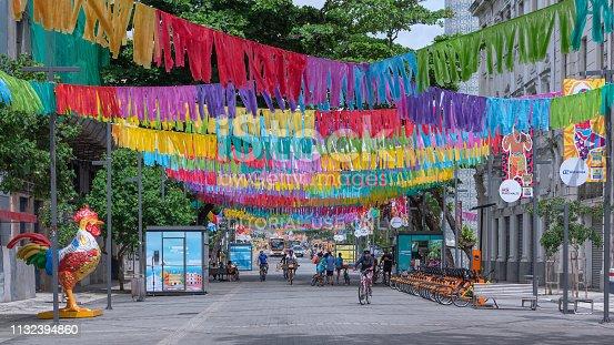 Recife, Pernambuco, Brazil - February 24, 2019:Decoration of Recife neighborhood for the 2019 carnival.