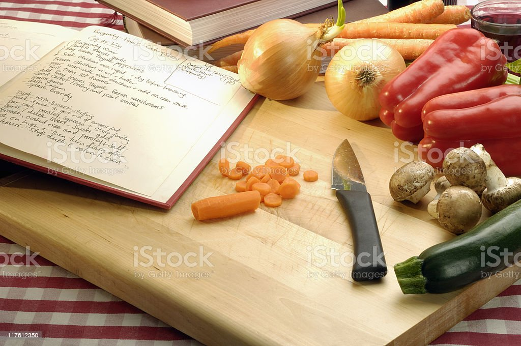 Recipe and vegetables stock photo