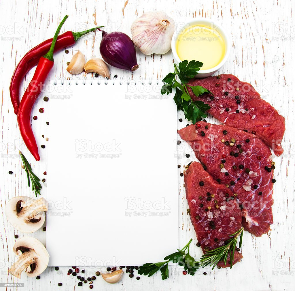 recipe book and ingredients royalty-free stock photo