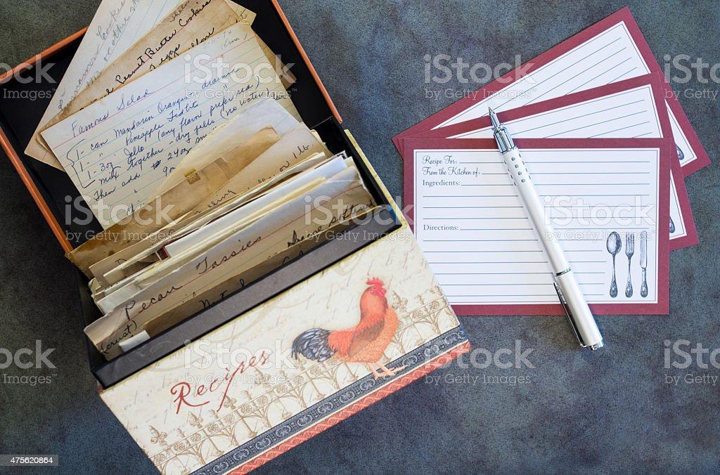 Recipe Box, Recipe Cards, Vintage Recipes stock photo