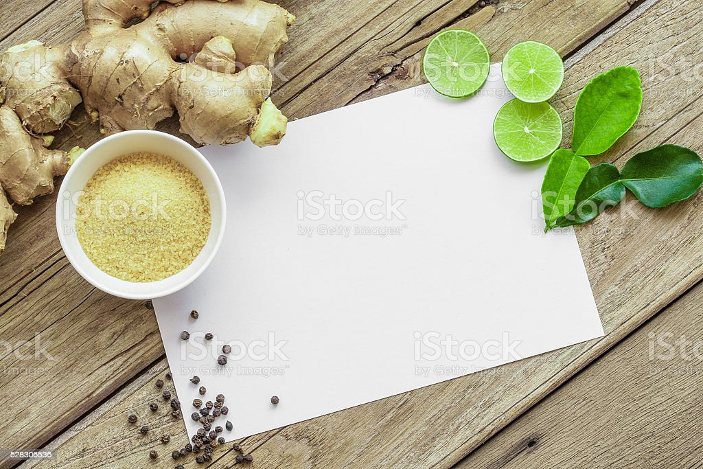 Recipe card on Old Wood Texture Background stock photo