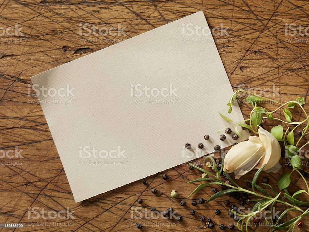 Recipe Card with Fresh Herbs royalty-free stock photo