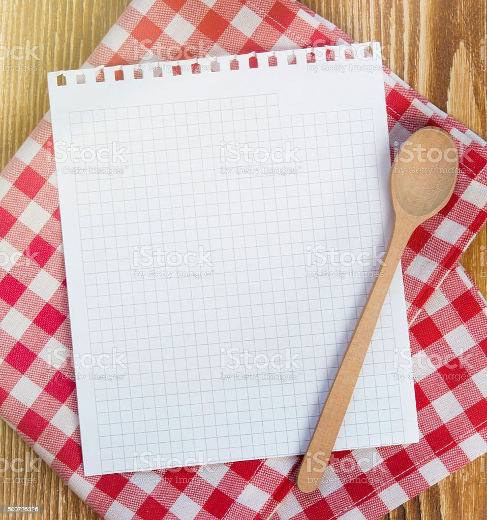 Recipe clean paper page for notes. stock photo