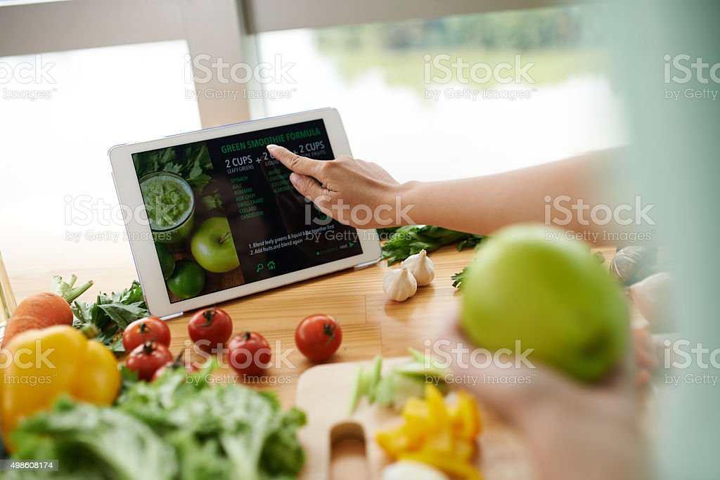 Recipe on website stock photo