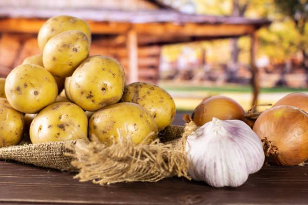 schritt für schritt rezept gebackene kartoffeln mit zwiebel mit cart - knoblauchkartoffeln stock-fotos und bilder