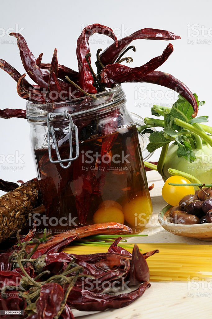 recipe with red peppers and yellow tomatoes royalty-free stock photo
