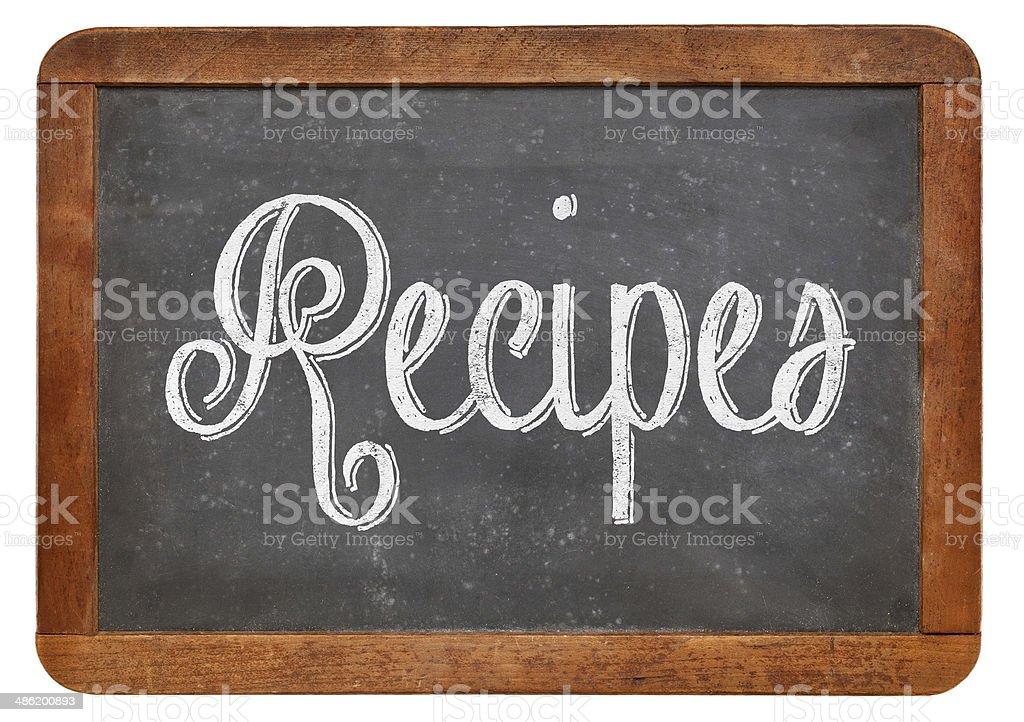 recipes - chalk on blackboard stock photo
