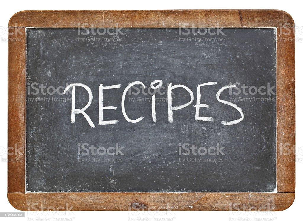 recipes word on blackboard stock photo