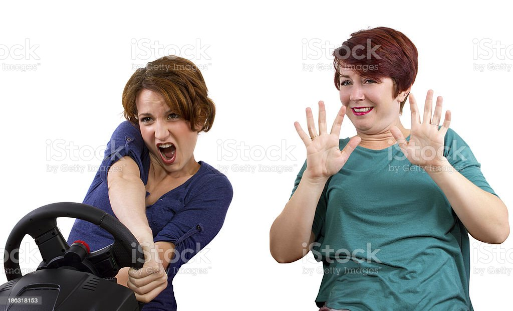 Reckless driver and scared female passenger on white background royalty-free stock photo