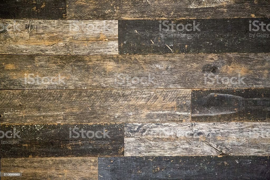 Reclaimed Speckled Black Barn Wood Wall Covering stock photo
