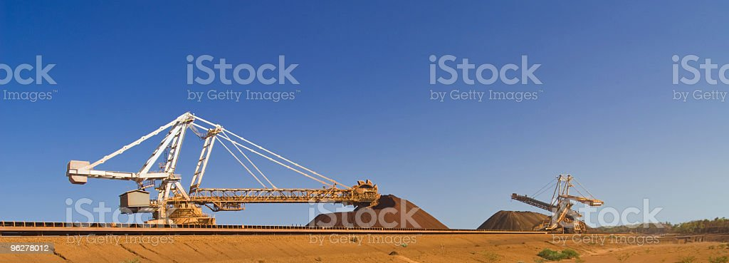 Reclaimer an Stacker on Pilbara  Mine Site royalty-free stock photo