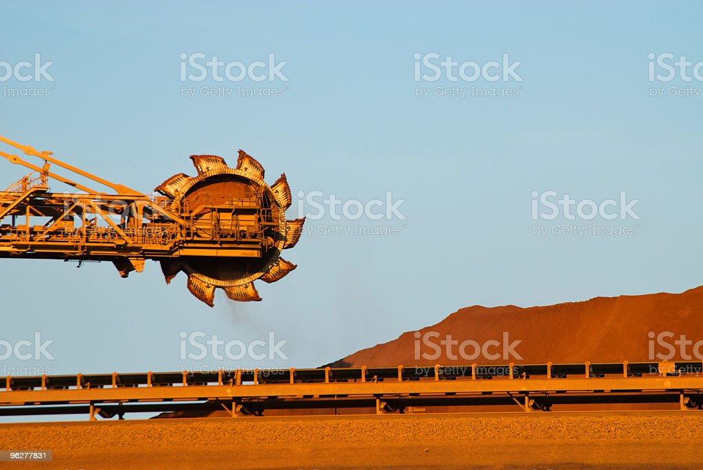 Reclaimer on iron ore mine site stock photo
