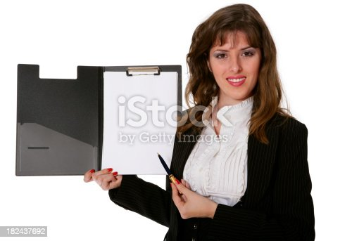 A girl in a business suit and with a folder for documents.