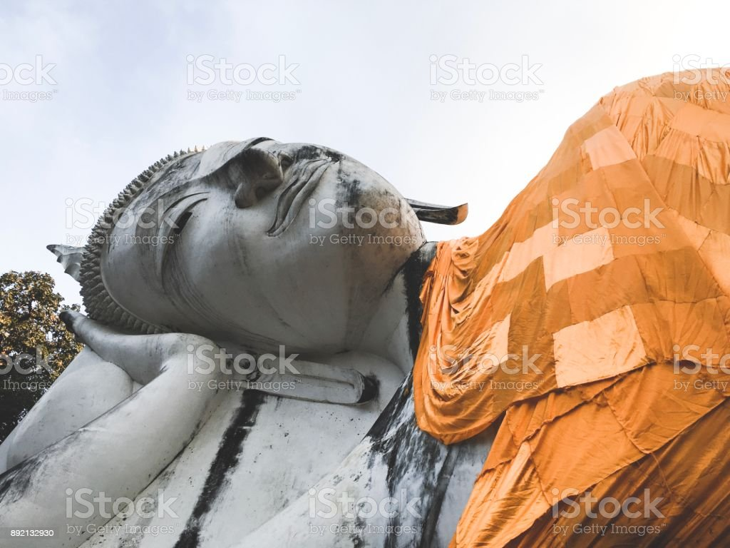 Reclining Buddha at Wat Khun Inthapramun, Thailand royalty-free stock photo
