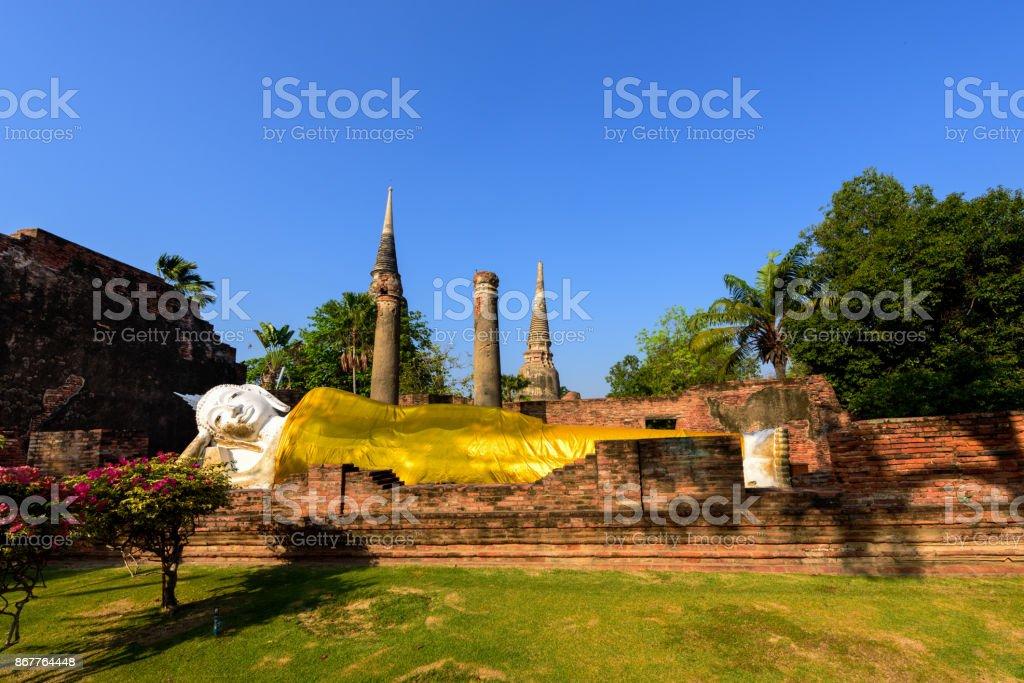 Reclining Buddha at Wat Yai Chai Mongkhon in Ayutthaya stock photo