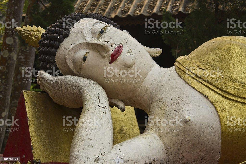 Reclining Buddha in Chiangmai stock photo