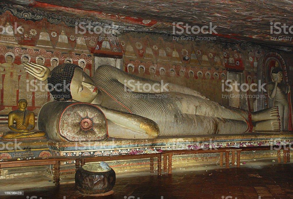 Reclining Buddha in Dambulla Rock Cave royalty-free stock photo