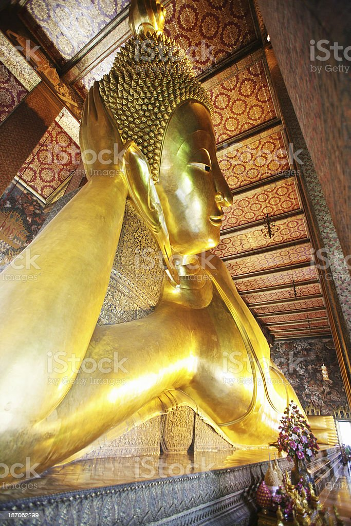 Reclining buddha in Wat Pho temple royalty-free stock photo