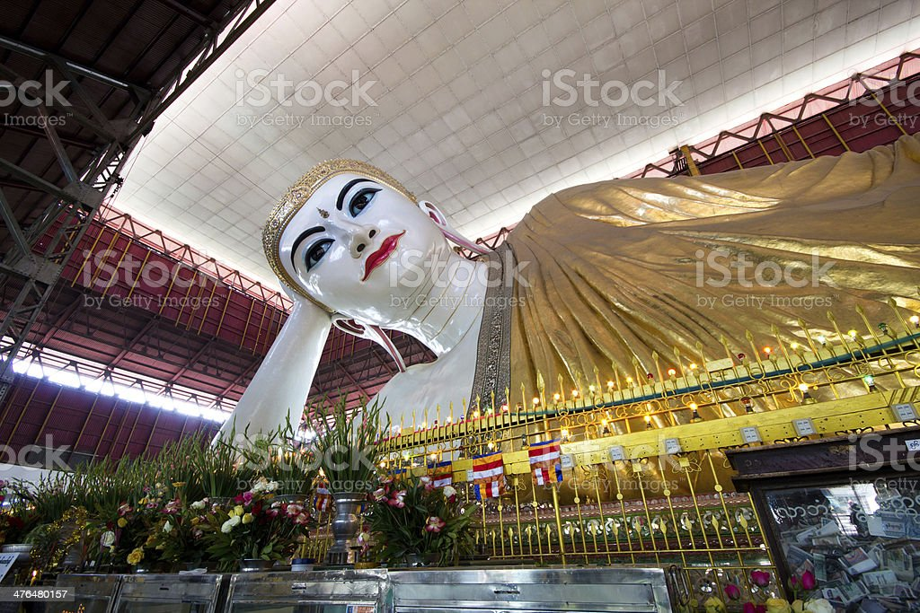 Reclining Buddha in Yangon, Myanmar royalty-free stock photo