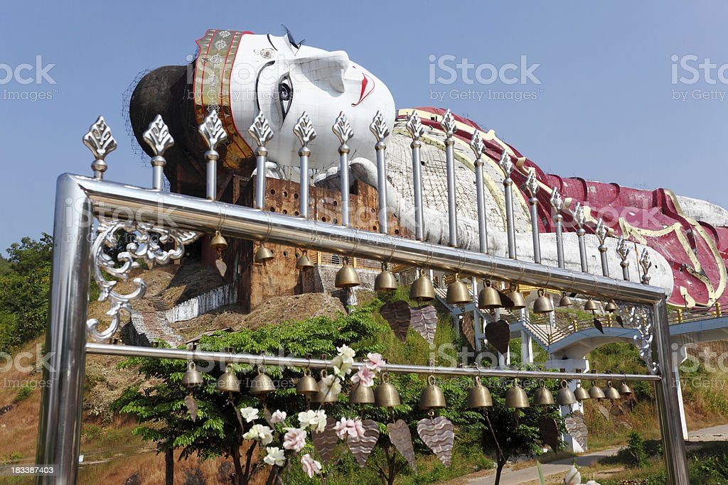 reclining Buddha statue and altar royalty-free stock photo