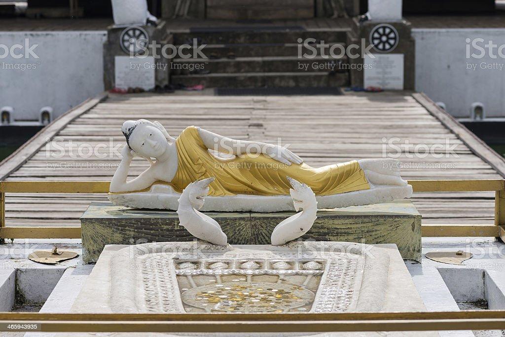 Reclining Buddha statue in Seema Malaka Temple in Colombo, Sri Lanka stock photo