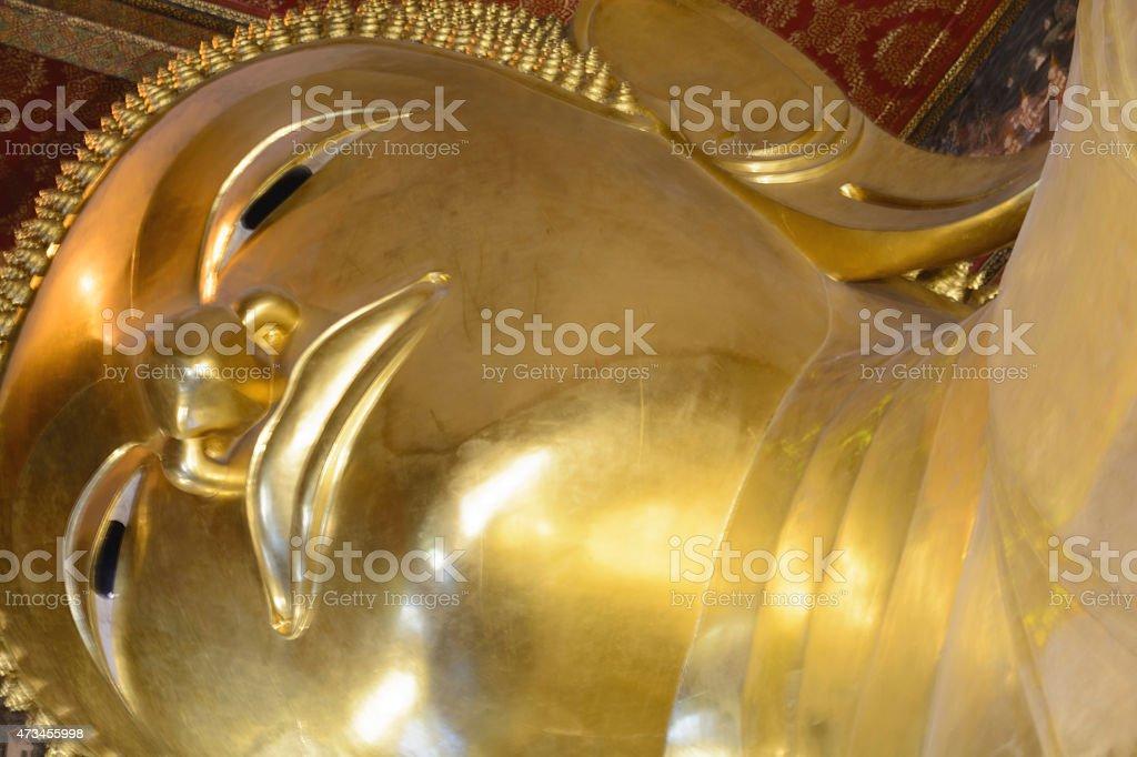 Reclining Buddha, Wat Pho, Bangkok of Thailand. stock photo