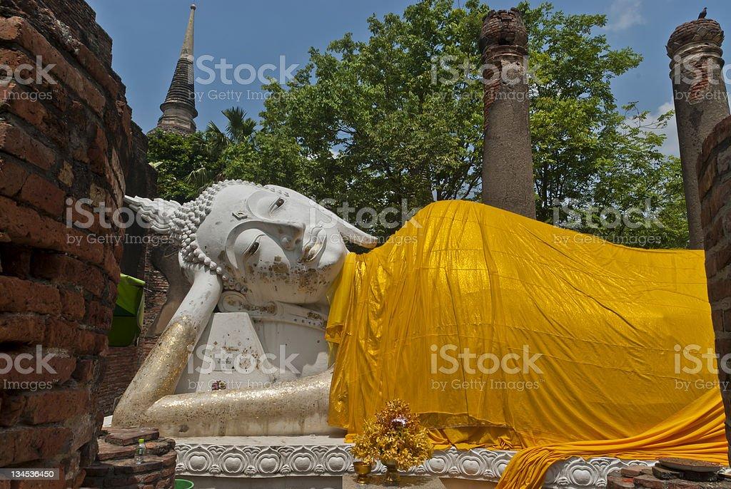 Reclining Thai Buddha Statue, Wat Yai Chai Mongkhon stock photo