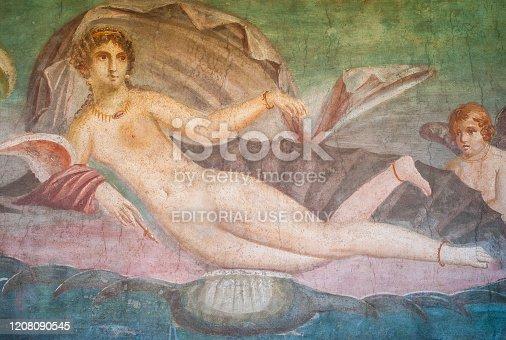 860524946 istock photo Reclining Venus on a Shell Frescoe in Pompeii 1208090545