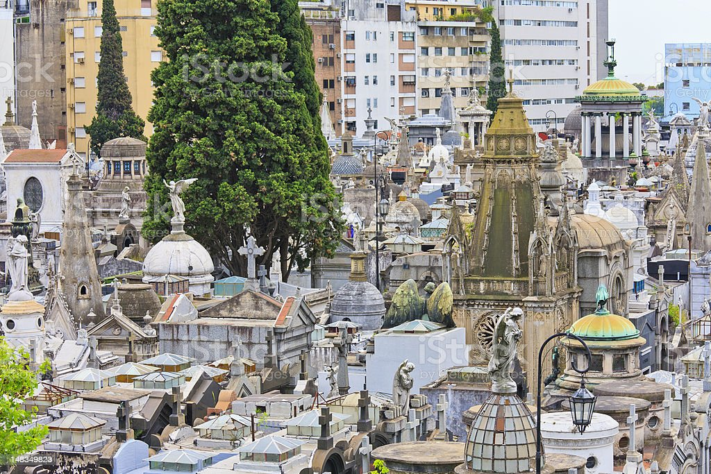 Recoleta Cemetery from above stock photo