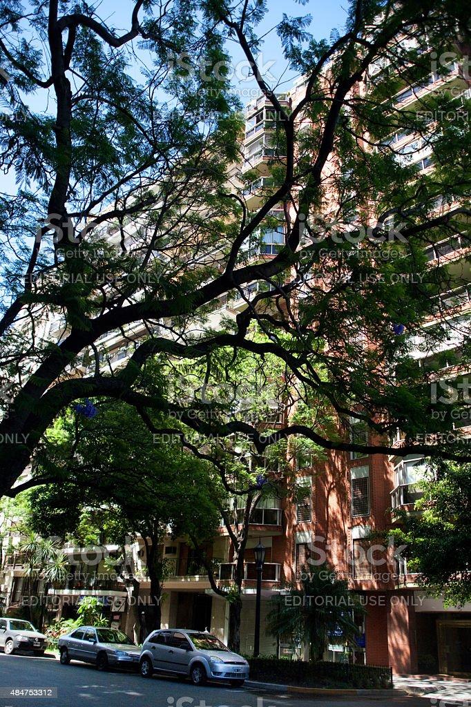 Bairro da Recoleta edifício residencial's Street, em Buenos Aires, Argentina foto royalty-free