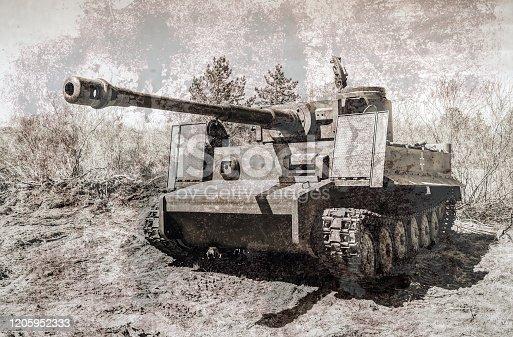 Vintage German tank on the battle field