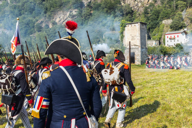 Reconstruction of a Napoleon's battle (fortress of Bard, Aosta Valley, Italy) - foto stock