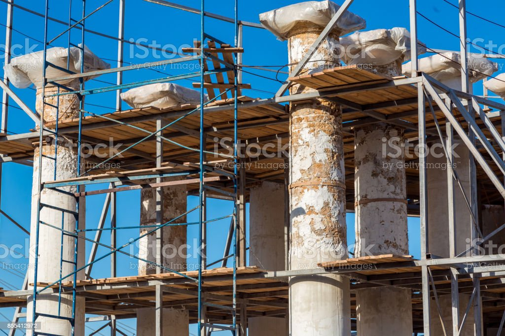 Reconstruction of ancientl colonnades. stock photo