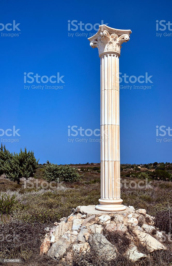 Reconstruction of Corinthian columns stock photo