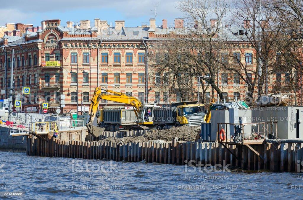 Reconstruction of Fontanka River embankment, St. Petersburg, Russia stock photo