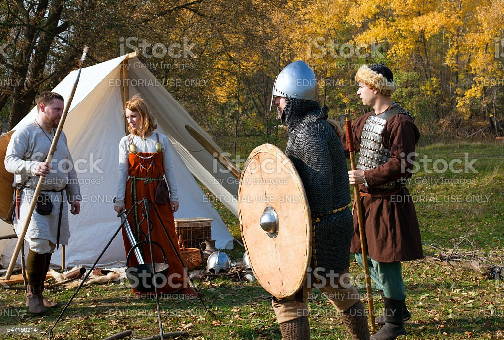 Reconstruction of old Russian medieval life stock photo