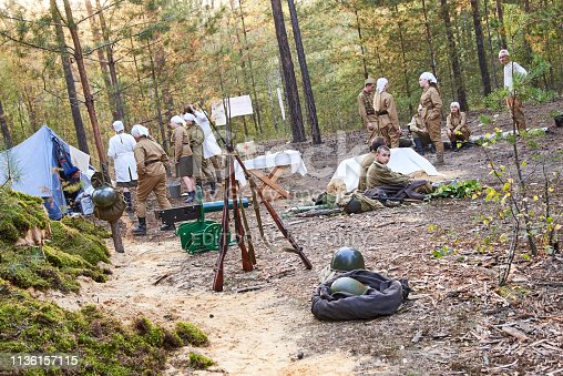 Ukraine, Voronezh - September 2, 2018: Reconstruction of the Second World War, field hospital of Russian soldiers in the forest.