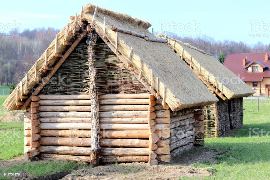 Reconstruction of the wooden structure, which served as a lodging house for the early peoples of central Europe. Architectural structure. The engineering thought of our ancestors. stock photo