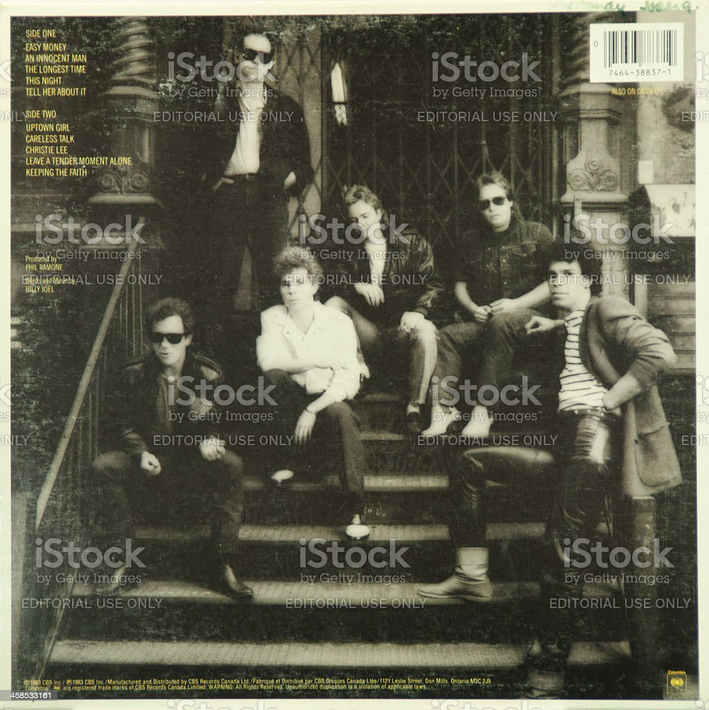 LP Record Back Cover ...  Billy Joel stock photo